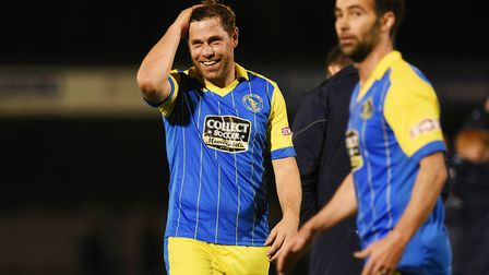 Grant Holt, left, and Simon Lappin on their debuts, off the bench, against Hitchin. Picture: Ian Bur