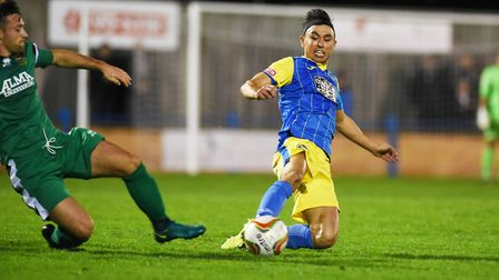 First half action from Lynn's home fixture against Hitchin. Pictured is Lynn's Mike Clunan. Picture: