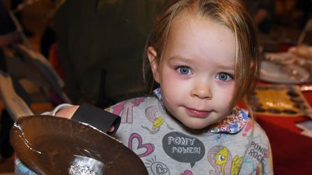 Matilda Percival, five, with a buckler, a knight's training shield, she has made at the Saturday Kni