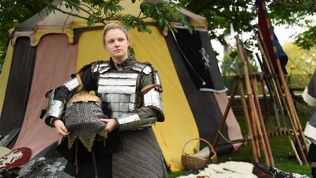 Kirsty Langley wearing authentic replica Russian armour at the Saturday Knight Fever event at Norwic
