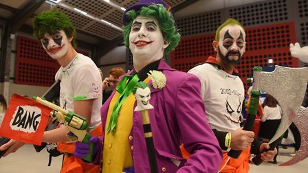 Joker, Matthew Olley, with henchmen, Morgan Olley, left, and Alan Cardy, at Nor-Con, the TV, film an
