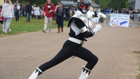 Ben Allen in action as the Black Power Ranger at Nor-Con, the TV, film and comic convention at the N