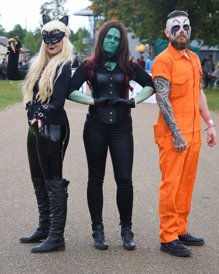 Aimee Richards as Catwoman, Catherine Sellars as Gamora from Guardians of the Galaxy, centre, and To