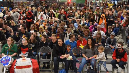 Fans, some in costume, watch the stageshow at Nor-Con, the TV, film and comic convention at the Norf