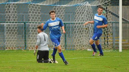 Danny Rodgers celebrates after scoring for Wroxham Reserves against Caister. Picture: DENISE BRADLEY