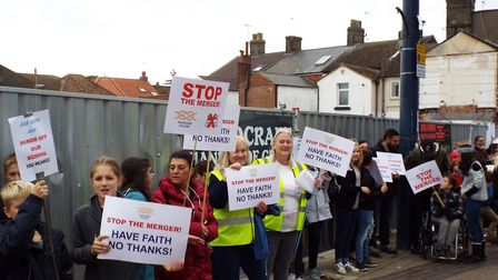 Parents and children objecting to the proposed merger of Trafalgar College and Great Yarmouth Charte