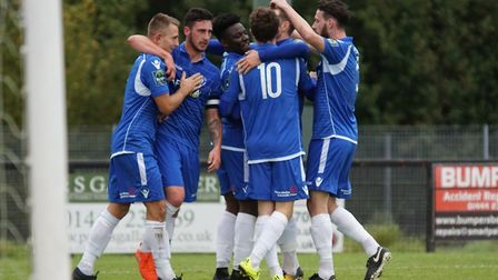Lowestoft Town players celebrating as they win 5-0 at Burgess Hill 0. Picture: Shirley D Whitlow