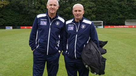 Lowestoft Town manager Ady Gallagher and assistant Dale Brooks, left, after the win at Burgess Hill