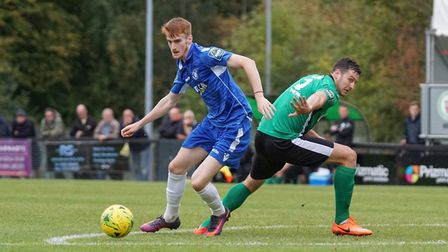 Josh Greenleaf about to score Lowestoft's fifth goal. Picture: Shirley D Whitlow