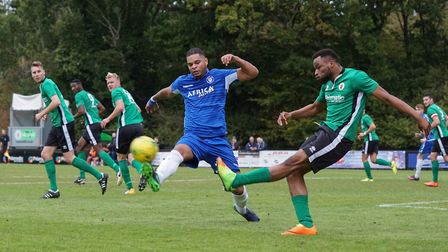 Lowestoft Town defender Dean Leacock tries to prevent a cross going in. Picture: Shirley D Whitlow