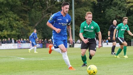 Lowestoft Town's Travis Cole, captain for the first time, at Burgess Hill. Picture: Shirley D Whitlo
