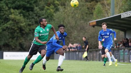 Lowestoft's Cruise Nyadzayo, scorer of the first goal for Lowestoft at Burgess Hill, with Harvey Hod