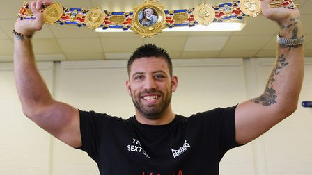 Sam Sexton - back in Norwich with the British heavyweight belt. Picture: DENISE BRADLEY