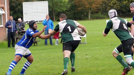 Michael Shucksmith is about to touch down for Norwich Union against Diss Saracens, Picture: Jessica