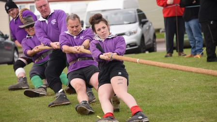 The annual Tug-of-War festival at Kessingland Beach Holiday Park. The team from Hadleigh, Essex. Pic