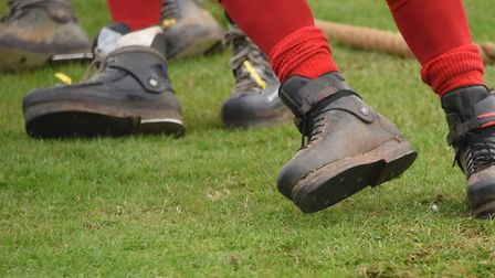 The annual Tug-of-War festival at Kessingland Beach Holiday Park. The winning team's boots as they s