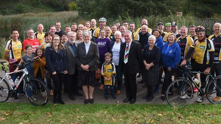 Fundraising cyclists from Club Together with the charities receiving the funds. Picture: DENISE BRAD