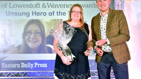 Stars of Lowestoft and Waveney 2017 awards evening at the Ivy House.Unsung hero of the year award..