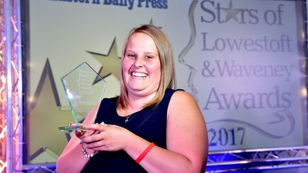 Courtney Parker wins the overall award at the Stars of Lowestoft and Waveney awards evening at the I