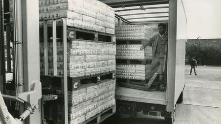 The colman's baby food being loaded onto a Salvation Army van at the Colman's factory this morning,