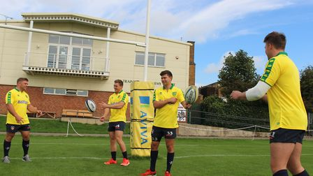 Leicester Tigers players, from left, Tom Youngs, Harry Simmons, Ben Youngs and George Catchpole, cel