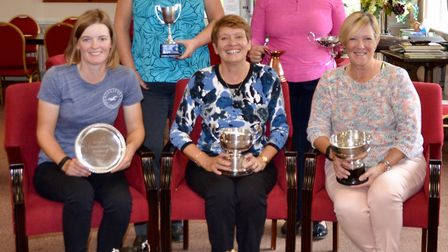 Ryston Park Ladies' competition winners. Front row from left: Tiffany Mills, Maggie Ward, Ann Fletch
