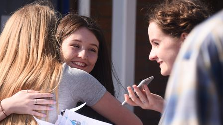 Students celebrate their GCSE results at Caister Academy. Picture: DENISE BRADLEY