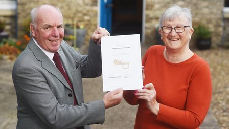 Thetford U3A has been granted an In Good Company Award. With the award are (L) Roy Brame and Lynn Re