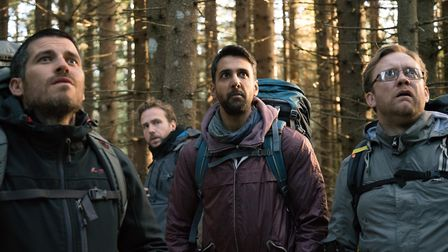 Rob James-Collier as Hutch, Rafe Spall as Luke, Arsher Ali as Phil and Sam Troughton as Dom in The R
