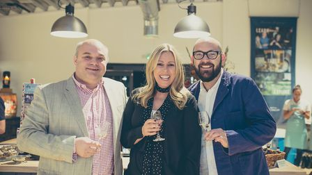 Andrew and Katy Nelstrop with English Whisky Co.�s Brand Ambassador Richard Bainbridge. Picture: The