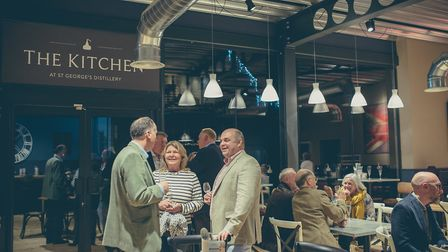 English Whisky Co. owner Andrew Nelstrop talks to guests at the opening of The Kitchen. Picture: The