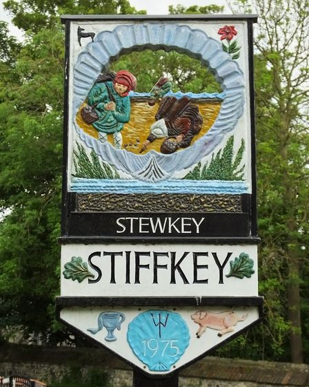 Stiffkey village sign. Photo taken by Andrew Tullett as part of his Signs of a Norfolk Summer projec