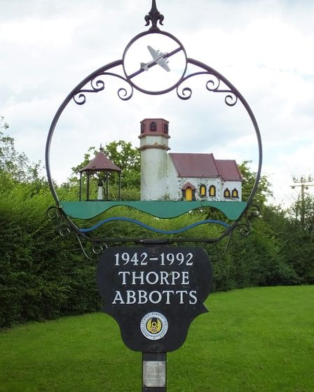 Thorpe Abbotts village sign. Photo taken by Andrew Tullett as part of his Signs of a Norfolk Summer