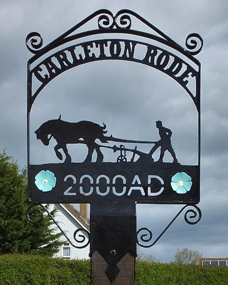 Carleton Rode village sign. Photo taken by Andrew Tullett as part of his Signs of a Norfolk Summer p