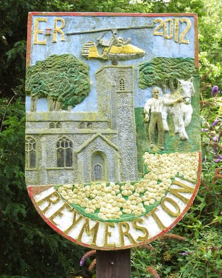 Reymerston village sign. Photo taken by Andrew Tullett as part of his Signs of a Norfolk Summer proj
