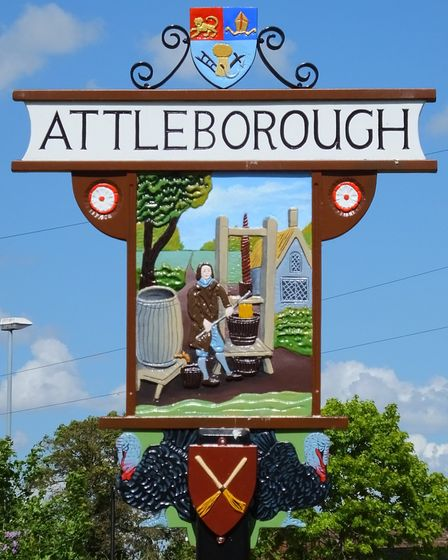 Attleborough's sign. Photo taken by Andrew Tullett as part of his Signs of a Norfolk Summer project.