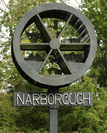 Narborough village sign. Photo taken by Andrew Tullett as part of his Signs of a Norfolk Summer proj