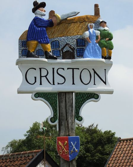 Griston village sign. Photo taken by Andrew Tullett as part of his Signs of a Norfolk Summer project