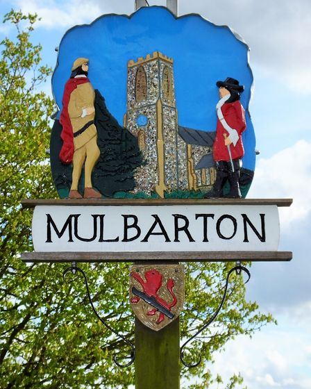 Mulbarton village sign. Photo taken by Andrew Tullett as part of his Signs of a Norfolk Summer proje
