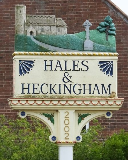 Hales and Heckingham village sign. Photo taken by Andrew Tullett as part of his Signs of a Norfolk S