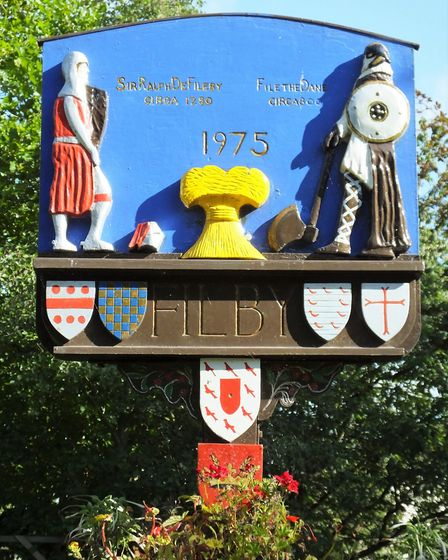 Filby village sign. Photo taken by Andrew Tullett as part of his Signs of a Norfolk Summer project.