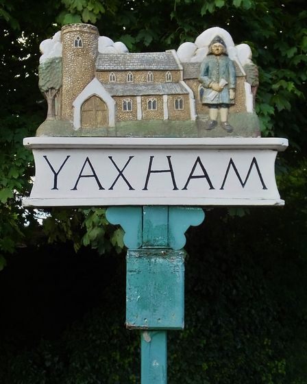 Yamham village sign. Photo taken by Andrew Tullett as part of his Signs of a Norfolk Summer project.