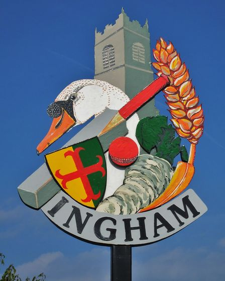 Ingham village sign. Photo taken by Andrew Tullett as part of his Signs of a Norfolk Summer project.