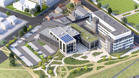 An aerial view of the proposed design for Cefas' new �16m Lowestoft base. Image courtesy of Cefas.