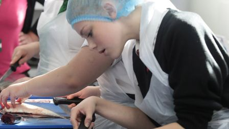 Students at work filleting. Picture: Gary Evans