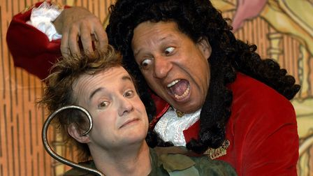 Derek Griffiths, right, as Captain Hook in the 2005-2006 production of Peter Pan. Left is Richard G