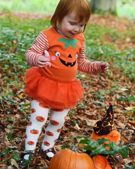 From one pumpkin to another, one-year-old Ruby Robotham at the Pumpkin Festival at the Brandon Count