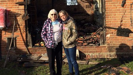 Barn fire in Hevingham. Roberta Ellis, left, and her daughter Charlotte Macey. Pictures: David Bale