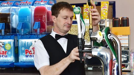 The Palace cinema in Gorleston opens to the public.David Gibb working behind the bar.Picture: Nick