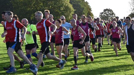 Runners from Wymondham Athletic Club and Norfolk Gazelles compete in Mulbarton parkrun. Picture: Ian